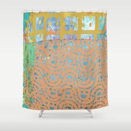 Terracotta Waves, Mixed Media Fiber Art Shower Curtain