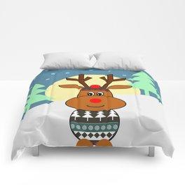 Reindeer in snow Comforters
