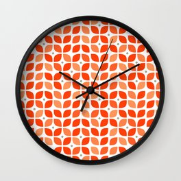 Red geometric floral leaves pattern in mid century modern style Wall Clock