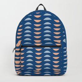 Minimalist Geometric Semi Circle Half Moon Shapes in Classic Blues and Muted Oranges Backpack