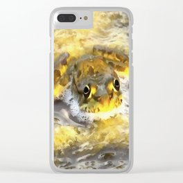 Frog In Deep Water Clear iPhone Case