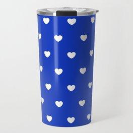 HEARTS ((white on azure)) Travel Mug