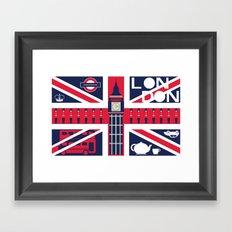Vintage Union Jack UK Flag with London Decoration Framed Art Print