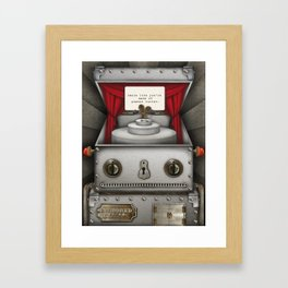 Robot suggests you dance. Framed Art Print