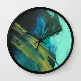 Align: a bold, abstract minimal piece in blues and greens Wall Clock