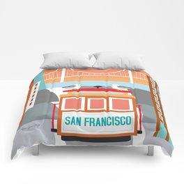 San Francisco, California - Skyline Illustration by Loose Petals Comforters