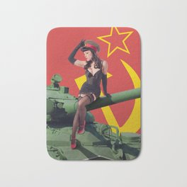"""Sovietsky by Land"" - The Playful Pinup - Russian Tank Pin-up Girl by Maxwell H. Johnson Bath Mat"