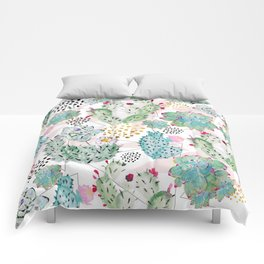 Modern triangles and hand paint cactus pattern Comforters