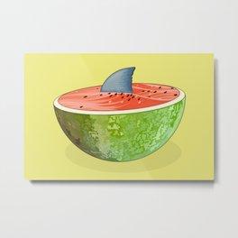 Shark Lurking in the Watermelon Metal Print