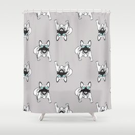 Soft grey Frenchies Shower Curtain