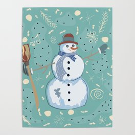 Happy Character of Snowman on a cute winter background with doodles Poster