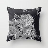 san francisco map Throw Pillows featuring San Francisco Map by chiams