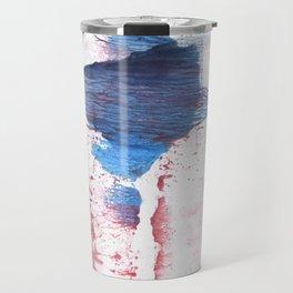 Pink blue streaked abstract Travel Mug