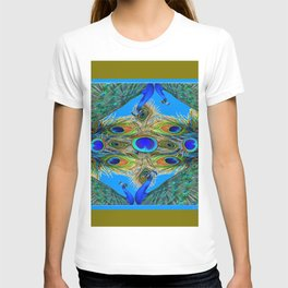 BLUE PEACOCKS KHAKI COLOR  FEATHER PATTERNS ART T-shirt