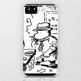 Hard-Boiled Detective Ape Shaves at the Office iPhone Case