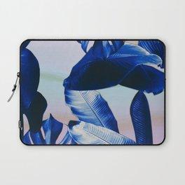 Cobalt blue tropical leaves Laptop Sleeve