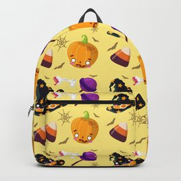 Happy halloween pattern with witch hats, pumpkins, bones and lollipops Backpack