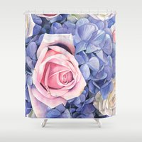 wedding Shower Curtains featuring Wedding Bouquet by LouiseDemasi