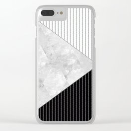 Valencia 1  Abstract black and white geometric pattern. Clear iPhone Case