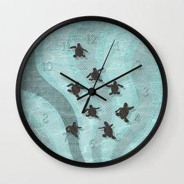Loggerhead sea turtle hatchlings Wall Clock