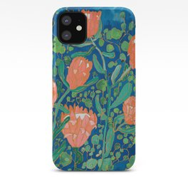 Coral Proteas on Blue Pattern Painting iPhone Case