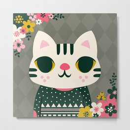 Cat in a Sweater / Cute Animal Metal Print