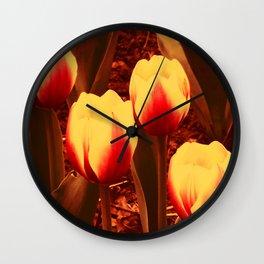 Fireflowers Four Wall Clock