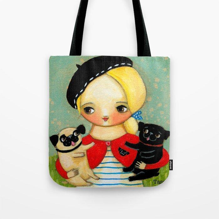 French girl with black pug and fawn pug Tote Bag