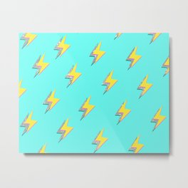 Blue Glitter Lightning Srike  Metal Print