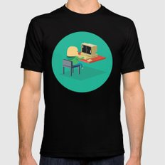 Nerd playing Pong Mens Fitted Tee Black MEDIUM