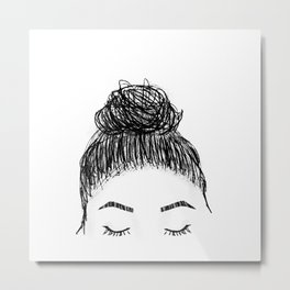messy girl bun Metal Print