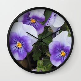 Blue Pansies Wall Clock