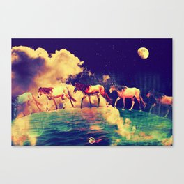 Horses to the moon by #Bizzartino Canvas Print