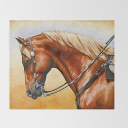 Western Sorrel Quarter Horse Throw Blanket