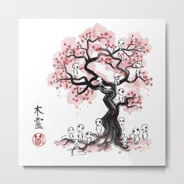 Forest Spirits sumi-e Metal Print