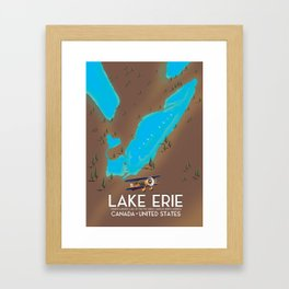 Lake Erie, USA lake Map Framed Art Print