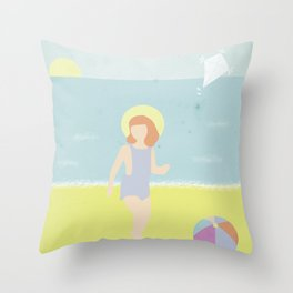 Girl at the beach with kite and ball in the 1950's vintage Throw Pillow