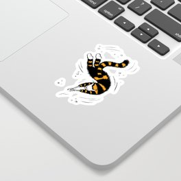 Weird Cat With Bone Hands Swimming Happily Sticker