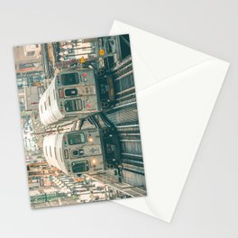 Two El Trains Above Wabash in Chicago Train Subway Elevated Stationery Cards