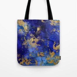 Gold And Blue Indigo Malachite Marble Tote Bag