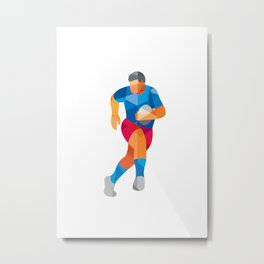 Rugby Player Running Low Polygon Metal Print