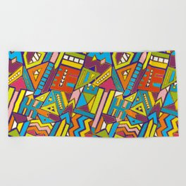 Colorful Geometric African Tribal Pattern Beach Towel