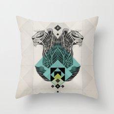 Blue Leopard Throw Pillow