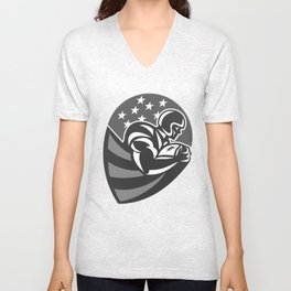 American Football Player Shield Grayscale Unisex V-Neck