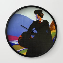 Abruzzo Italian travel Lady on a walk Wall Clock