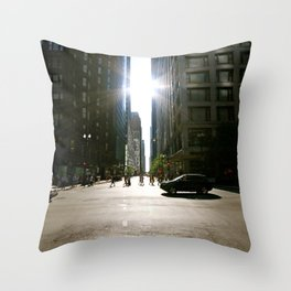 Sun Between Buildings Throw Pillow