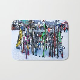 Ski Party - Skis and Poles Bath Mat