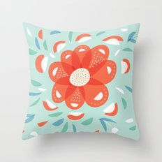 Whimsical Decorative Red Flower Throw Pillow