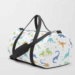 Space Dinosaurs on White (Orange + Blue) Duffle Bag