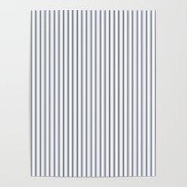 Dark Sargasso Blue Mattress Ticking Narrow Striped Pattern - Fall Fashion 2018 Poster